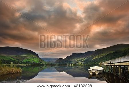 Llyn Nantlle At Sunrise Looking Towards Mist Shrouded Mount Snowdon