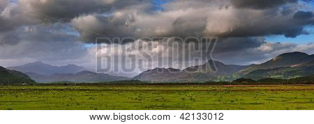 Snowdon Mountain Ranges Panoramic View Of Snowdonia National Park