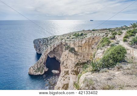 Blue Grotto On The Southern Coast Of Malta.