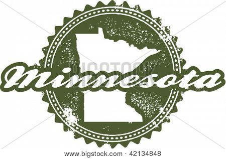 Vintage Style Minnesota State Stamp
