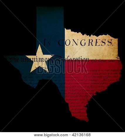 Usa American Texas State Map Outline With Grunge Effect Flag Insert And Declaration Of Independence