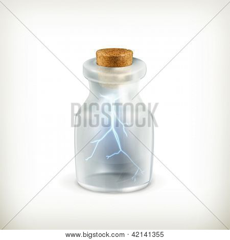 Lightning in a bottle icon, bitmap copy