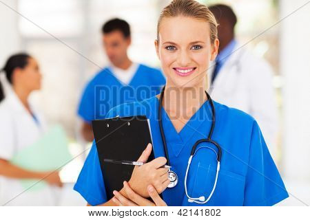 smart female healthcare worker in hospital