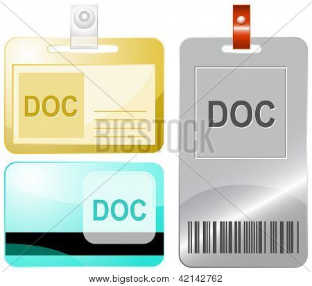 Doc. Id cards. Raster illustration.