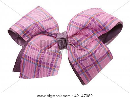 Pink plaid ribbon bow