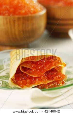 Pancake Stuffed With Red Caviar