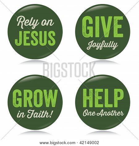 Vintage Christian buttons, green