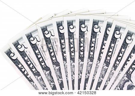 5 Dollar Bills Fanned