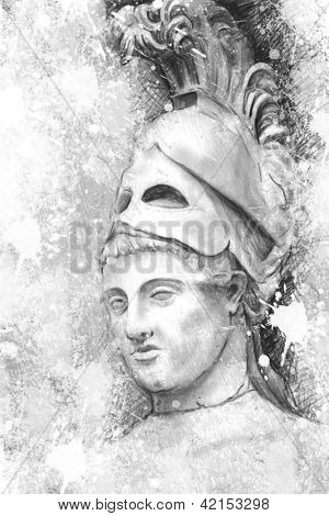 Artistic portrait of Pericles with textured background, classical Greek sculpture