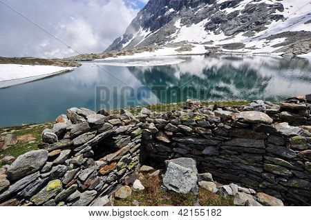 High Mountain Scenery With Lake And Snow