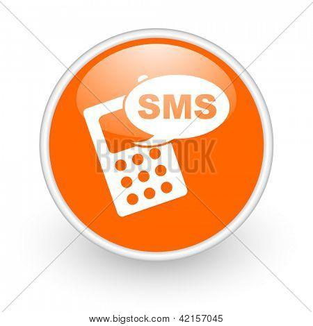 sms orange circle glossy web icon on white background