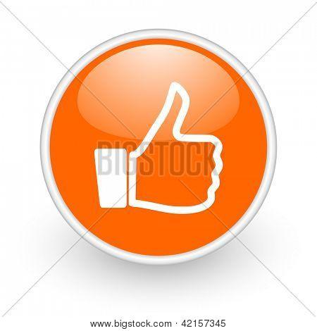 thumb up orange circle glossy web icon on white background
