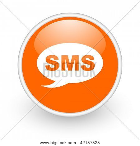 sms orange circle glossy web icon on white background