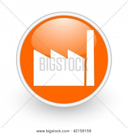 industry orange circle glossy web icon on white background