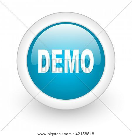demo blue circle glossy web icon on white background