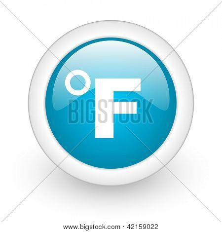fahrenheit blue circle glossy web icon on white background