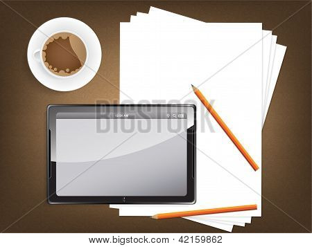 Desk Concept With A Blank Paper And A Modern Tablet