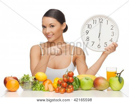 picture of beautiful woman with big clock