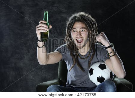 Football Or Soccer Fan Watching Television