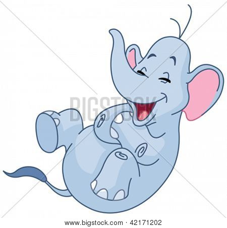 Elephant rolling on the floor laughing