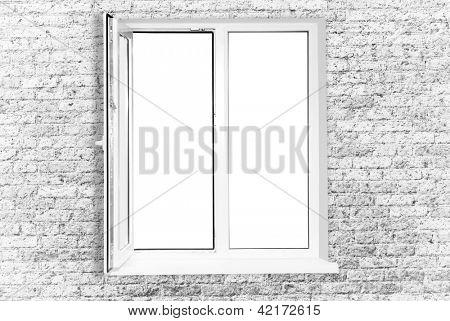White plastic window isolated on white background
