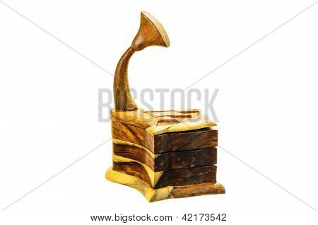 A Wooden Box In The Form Of The Phonograph.