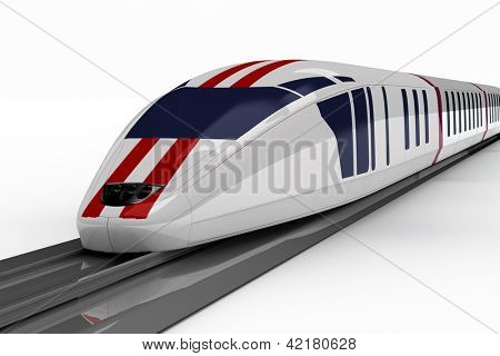 high-speed train on a white background