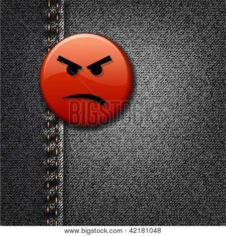 Angry face badge on black denim denim realistic vector