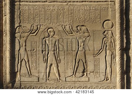 Relief At Chnum Temple In Egypt