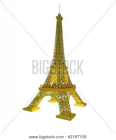 Effel Tower Is Isolated On A White Background