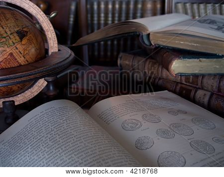 Ancient Books At Light Of  The Candle