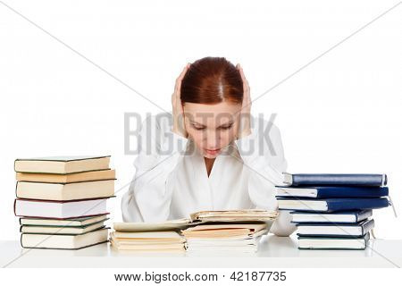 Woman with books against white background.