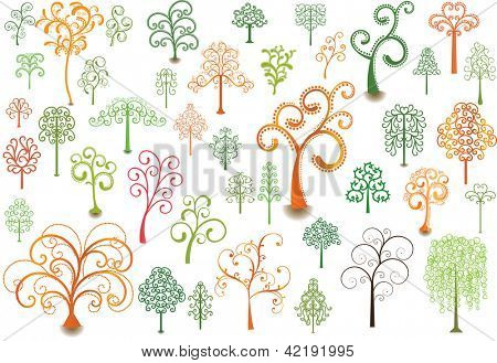 Set of stylized trees for design.