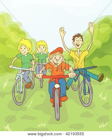 4_children Ride Bike