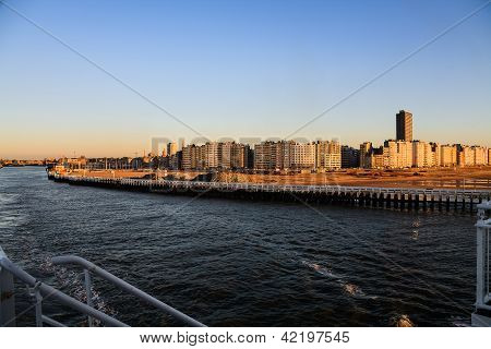 Ostend City In The Rays Of The Sunset