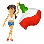 Illustration of a smiling girl with a national flag of Italy on a white background