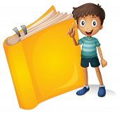 Illustration of a smiling boy and a yellow book on a white background