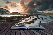 stock photo of jousting  - Creative composite image of seascape in pages of magic book - JPG
