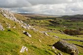 stock photo of errat  - View from Norber Erratics down Wharfe Dale in Yorkshire Dales National Park - JPG