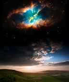 stock photo of orbital  - Countryside sunset landscape with planets in night sky Elements of this image furnished by NASA - JPG