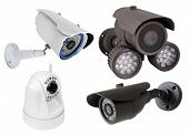 stock photo of cctv  - surveillance camera isolated on white background - JPG