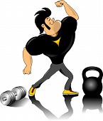 pic of muscle builder  - vector illustration of human figure body builder lifting a dumbbell set inside a circle - JPG