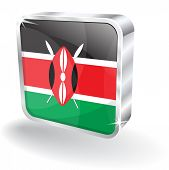 3d Kenya Flag Vector Icon
