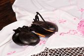 image of castanets  - Castanets on a handmade embroidered shawl a flamenco stil life  - JPG