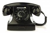 stock photo of bakelite  - vintage bakelite telephone on a white background - JPG