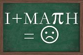 stock photo of dislike  - I Dislike Math Equation Chalkboard A chalkboard with I Dislike Math equation with happy symbol - JPG