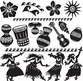 foto of hula dancer  - Hawaiian Set with dancers and musical instruments - JPG