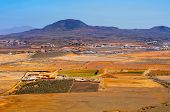 aerial view La Oliva town and La Arena volcano Fuerteventura, Canary Islands, Spain