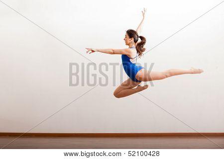 Rehearsing a big ballet jump