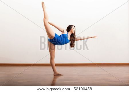 Pretty ballet dancer holding a pose
